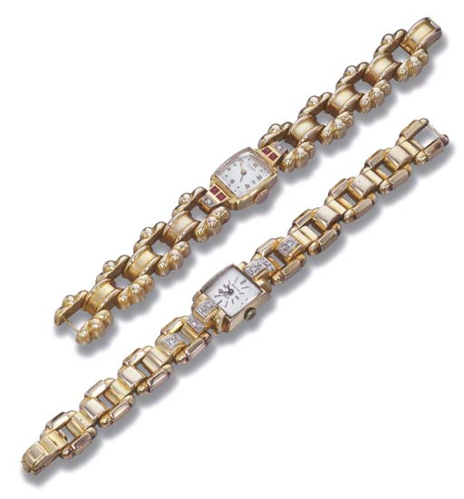 TWO GOLD BRACELET WATCHES