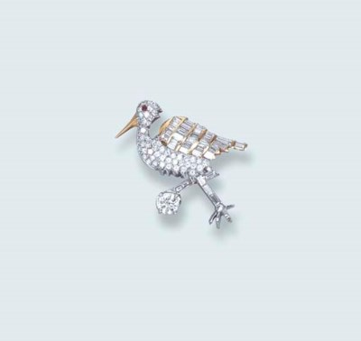 A DIAMOND STORK BROOCH