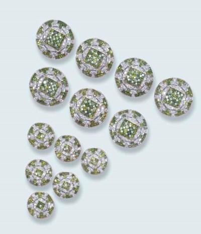 A GREEN GARNET AND DIAMOND DRE