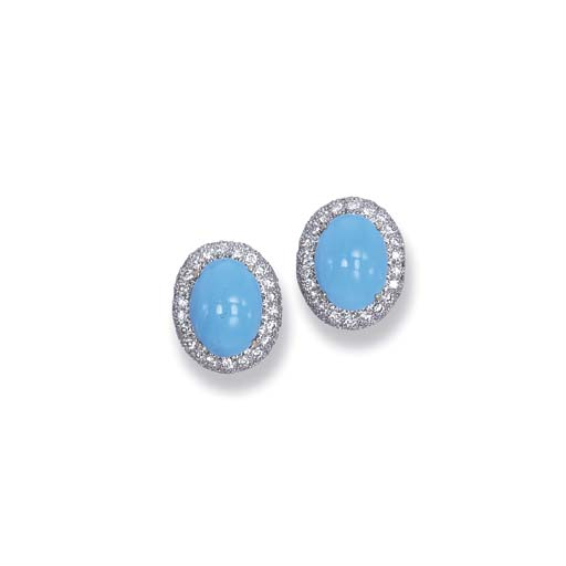 A PAIR OF TURQUOISE AND DIAMOND EAR CLIPS
