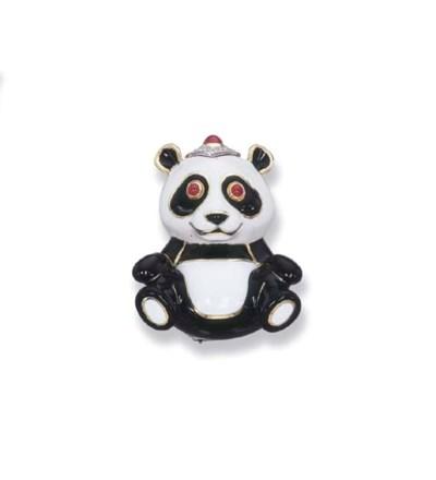 AN ENAMEL AND GEM-SET PANDA BO