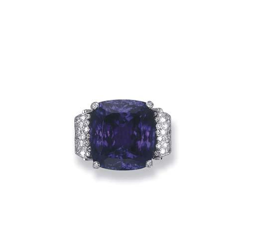 A FINE TANZANITE AND DIAMOND RING