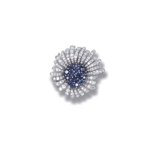 A SAPPHIRE AND DIAMOND 'MINI PRINTANIA' BROOCH, BY VAN CLEEF & ARPELS