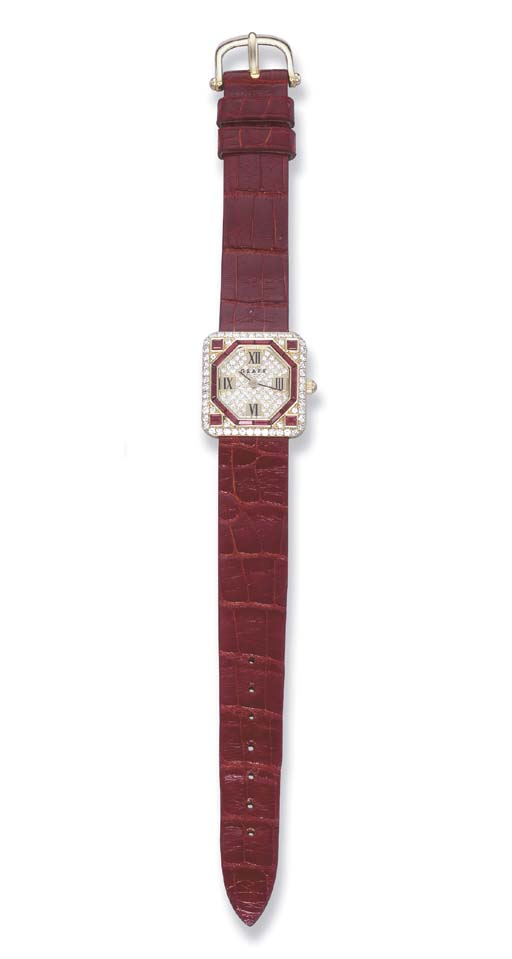 A RUBY AND DIAMOND WRIST WATCH