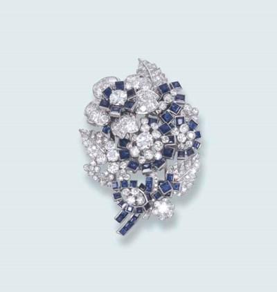 AN ELEGANT SAPPHIRE AND DIAMON