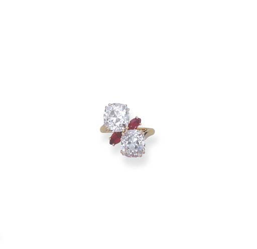 A DIAMOND TWO-STONE RING, BY C