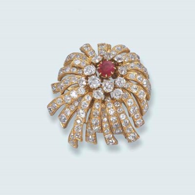 A DIAMOND AND RUBY FLORAL BROO