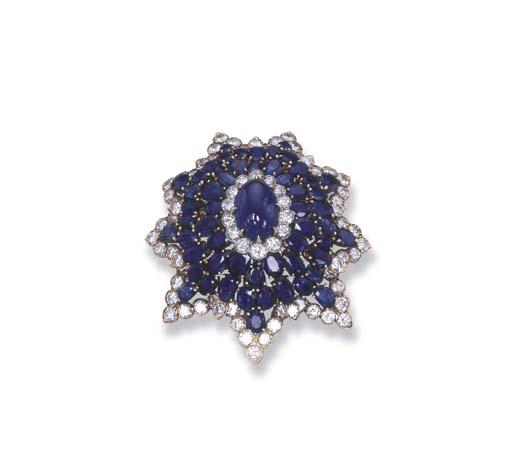 A SAPPHIRE AND DIAMOND STAR BR