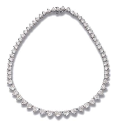 A HEART-SHAPED DIAMOND RIVIERE