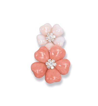 A CORAL 'APHRODITE' BROOCH, BY