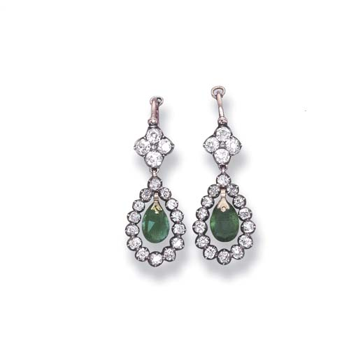 A PAIR OF ANTIQUE EMERALD AND