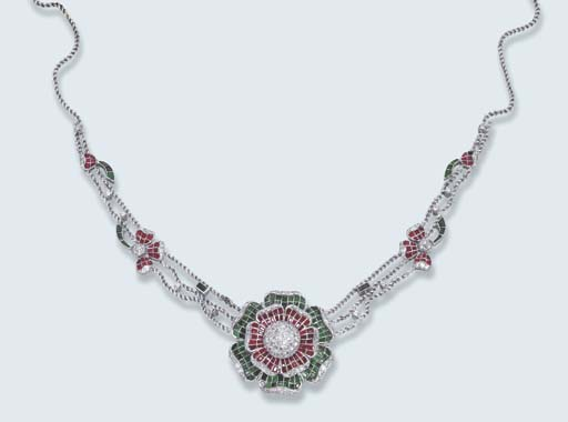 A GEM-SET AND DIAMOND FLORAL N