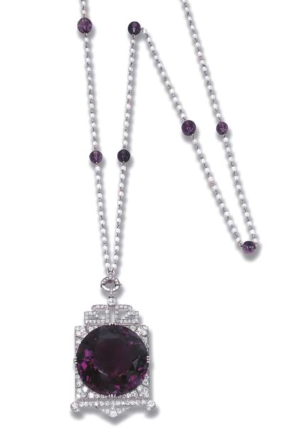 A RARE ART DECO AMETHYST AND D
