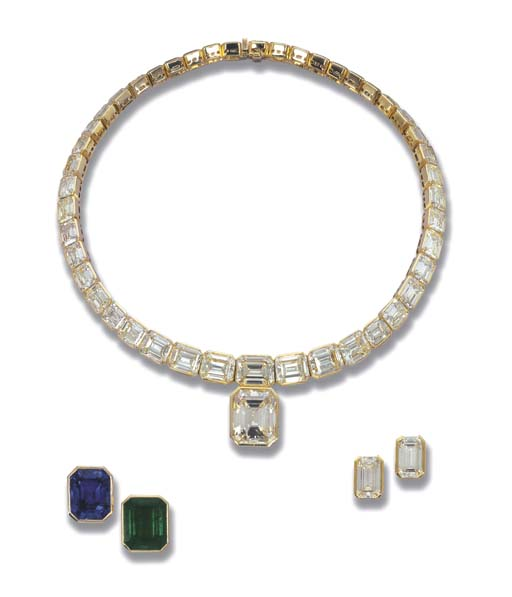 AN IMPORTANT YELLOW DIAMOND NECKLACE AND A PAIR OF EARRINGS, BY POIRAY