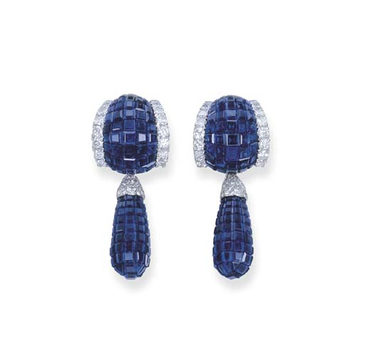 A PAIR OF INVISIBLY-SET SAPPHIRE AND DIAMOND EAR PENDANTS, BY VAN CLEEF & ARPELS