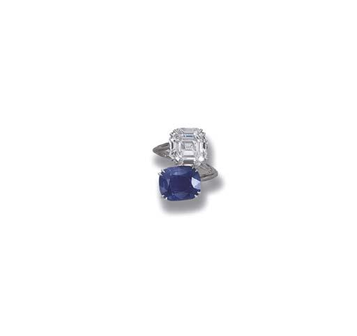 A SAPPHIRE AND DIAMOND CROSS-O