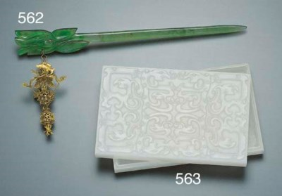A FINE JADEITE HAIRPIN WITH GI
