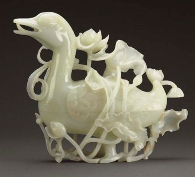 A LARGE WHITE JADE DUCK-FORM B