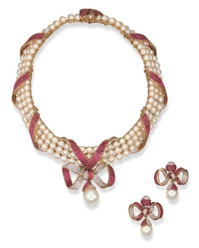 A SUITE OF CULTURED PEARL, RUB