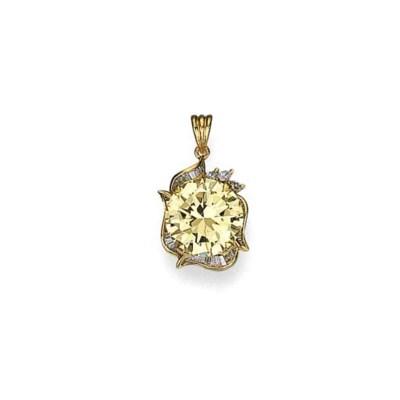 A LIGHT YELLOW DIAMOND AND DIA