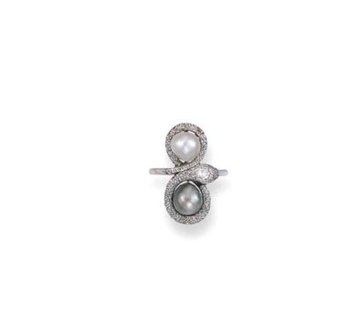 AN ANTIQUE PEARL AND DIAMOND R