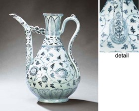 AN IMPORTANT AND VERY RARE EARLY MING BLUE AND WHITE EWER