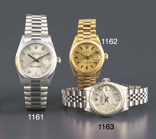 ROLEX. A LADY'S STAINLESS STEE