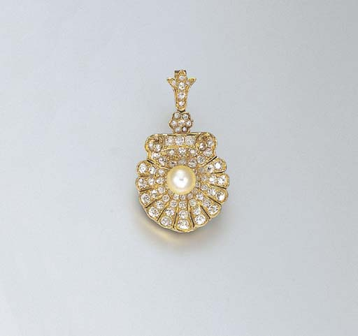 AN ANTIQUE PEARL AND DIAMOND L