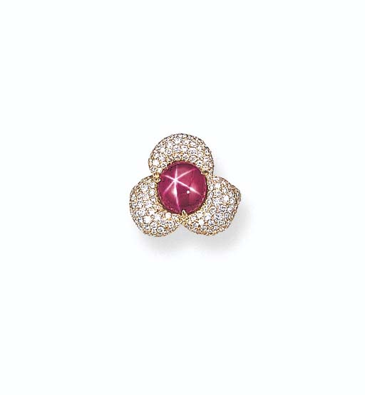 A STAR RUBY AND DIAMOND FLOWER