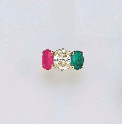 A DIAMOND, EMERALD AND RUBY RI