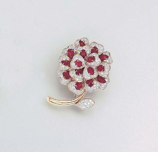 A RUBY AND DIAMOND FLOWER PEND