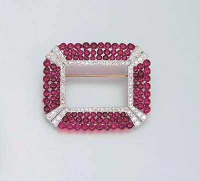 A RUBY BEAD AND DIAMOND BROOCH
