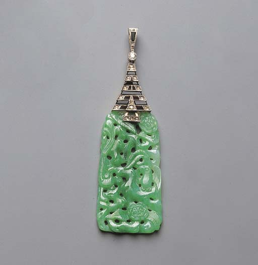 AN ART DECO JADEITE, DIAMOND A