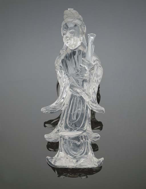 A ROCK CRYSTAL CARVING OF GUAN
