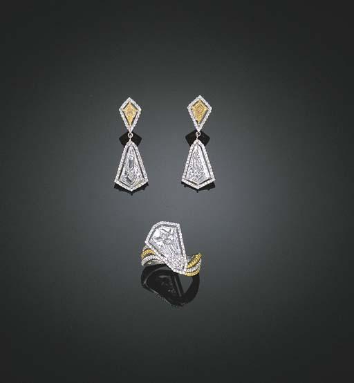 A SET OF DIAMOND AND YELLOW DI