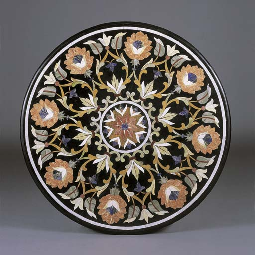 A PIETRA DURA AND WROUGHT IRON