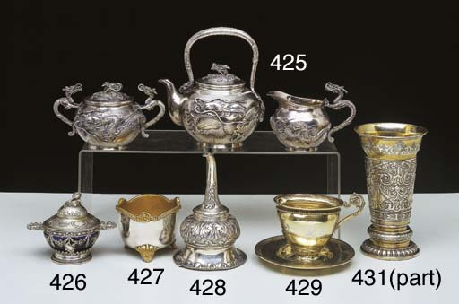 A JAPANESE SILVER TEA SET
