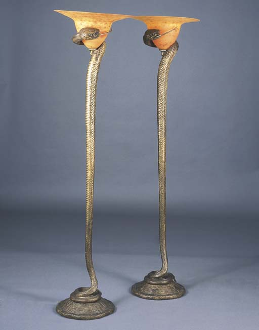 A PAIR OF ART DECO STYLE BRONZ