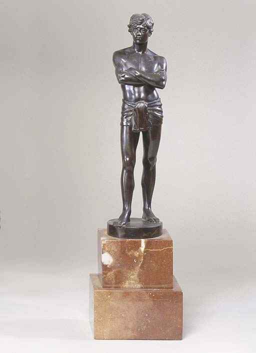 A GERMAN BRONZE OF AN ATHLETIC
