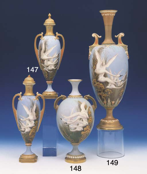 A PAIR OF ROYAL WORCESTER SLEN