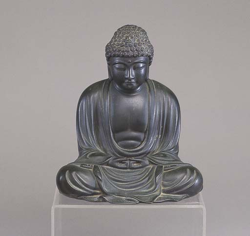 A JAPANESE BRONZE OF THE SEATE