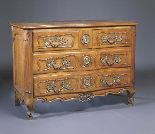 A LOUIS XV WALNUT SERPENTINE C