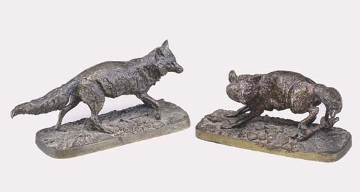 A PAIR OF ANIMALIER BRONZES OF