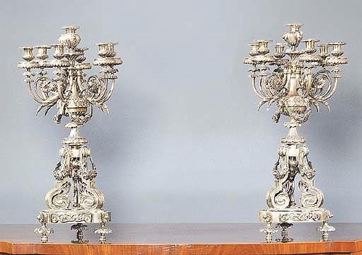 A PAIR OF FRENCH SILVERED BRON