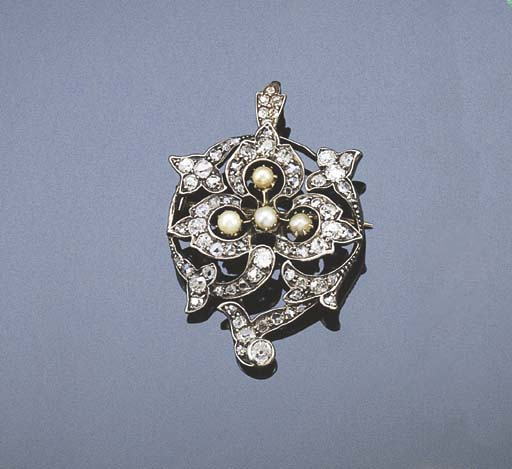 A VICTORIAN PEARL AND DIAMOND