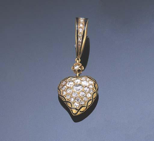 A DIAMOND AND ENAMEL HEART PEN