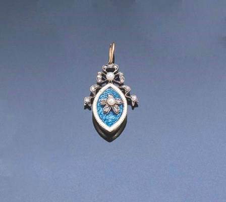 AN EDWARDIAN ENAMEL, DIAMOND A