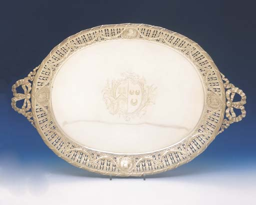 A FRENCH SILVER OVAL TWO HANDL