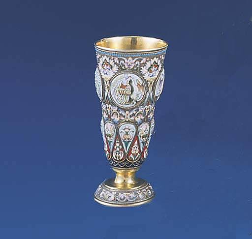 A RUSSIAN SILVER, GILT AND ENA