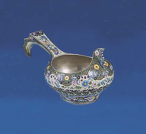 A RUSSIAN SILVER AND ENAMEL KO